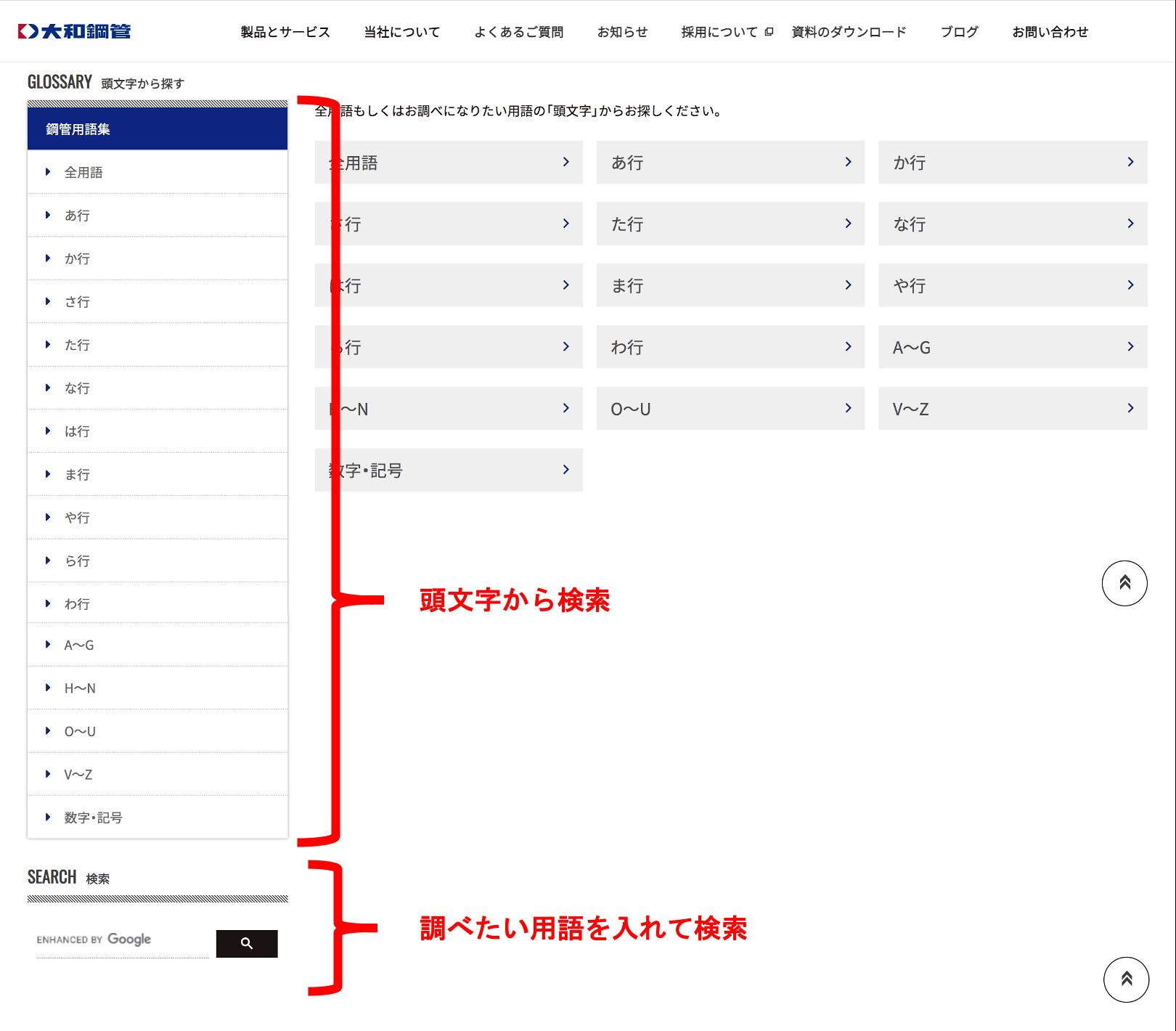 用語集?!大和鋼管ウェブサイトの新設ページについて。(^_^)v