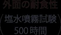 外面の耐食性(塩水噴霧試験500時間)