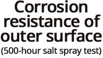 External corrosion resistance (salt spray test 500 hours)